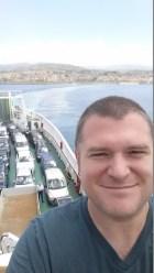 Math teacher John Mustachio on a ferry crossing the Strait of Messina.