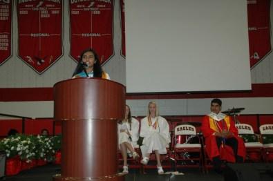 Sayatanee Das giving her salutatorian speech