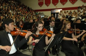 The orchestra performing during veteran's day