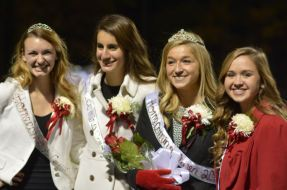(l to r) 2013 Homecoming Queen Emily Dabbs, senior Maria Gergoudis, senior and 2014 Homecoming Queen Hailey Gutzmer, and sophomore Allison Edwards.