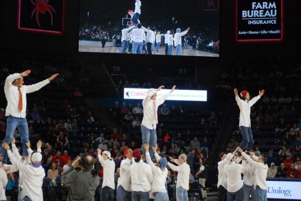 The senior boys performing their dance.