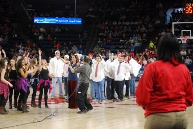 The senior boys cheering.