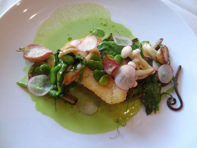 Halibut with vegetables at Nine-Ten Restaurant San Diego