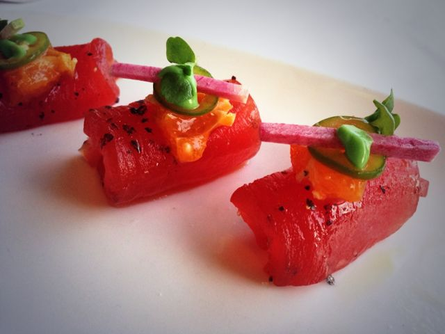 Yellowfin tuna sashimi with avocado mousse at 1500 Ocean