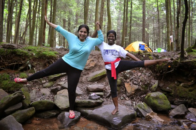 Divya Sarin and friend on the Yoga Camping Trip