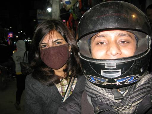 Motorcycling through the streets of Kathmandu, Nepal