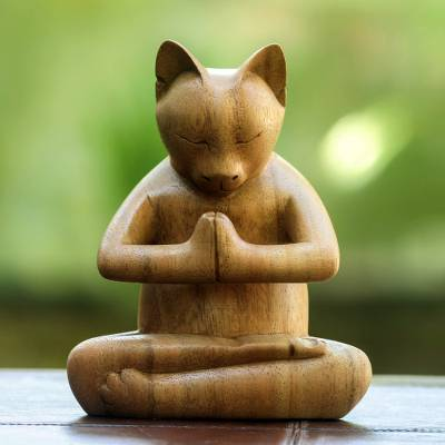 Cat Praying Wood Sculpture