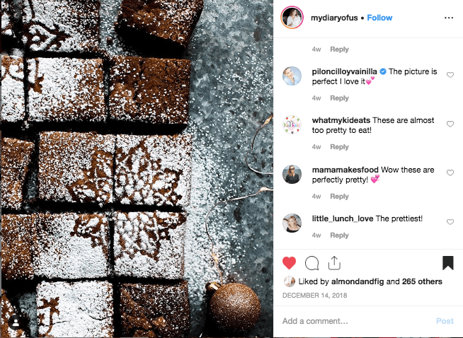 Wonderful gingerbread brownie recipe posted to Instagram -- a screenshot included in this month's inspiration list at Go Eat Your Bread with Joy!