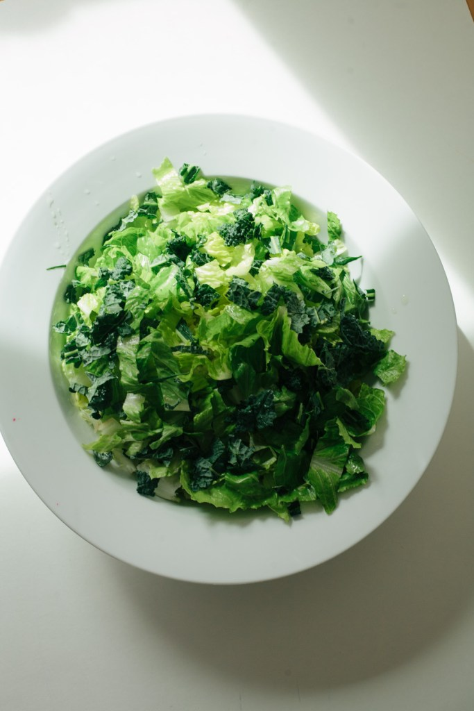 Romaine and kale, the foundation of a bright and beautiful salad / Go Eat Your Bread with Joy