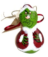 Grinch painted by a local artist using a Chinese bottle gourd.