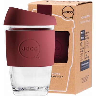 Image of a glass coffee cup with red wine coloured silicone and cap displayed in front of its empty box