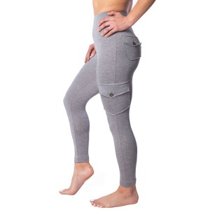Ethica Activewear Bamboo Cargo Leggings Grey Sideview