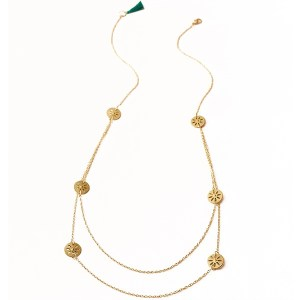 Matr Boomie Brass Necklace Chameli Petal Coin