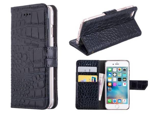 iPhone 6 en 6S Bookcase Hoesje Krokodil Leder Zwart