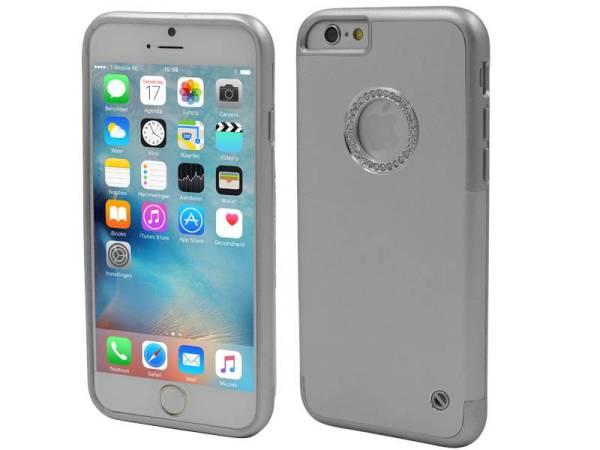 iPhone 6/6S Aluminium TPU Hardcase Hoesje Diamantjes Zilver
