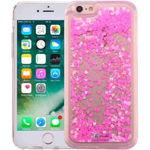 iPhone 8/7 Bewegend Glitter Hoesje Hartjes Roze
