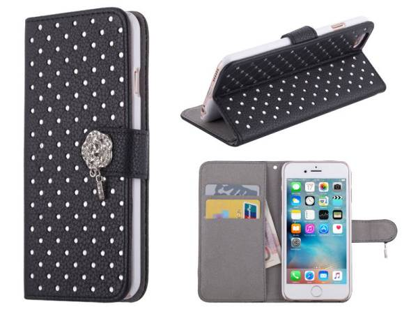 iPhone 6 en 6S Bookcase Hoesje Diamantjes Roos Zwart