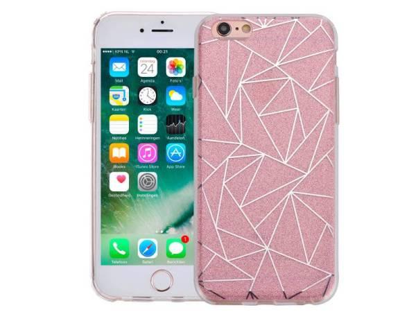 iPhone 6 en 6S Hardcase Glitter Mozaïek Roze