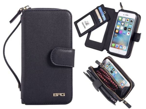 Zwarte Clutch Portemonnee iPhone 6 / 6S Met Spiegeltje