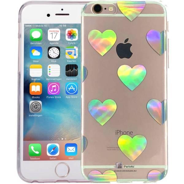 iPhone 6/6S Hoesje Siliconen Hologram Hartjes Transparant
