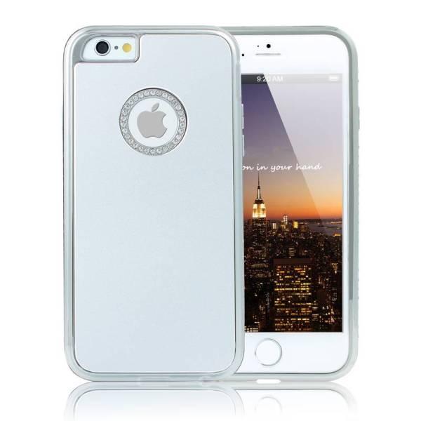 iPhone 6 en 6S Logo Snap Case Hoesje Zilver Diamantjes