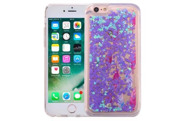 iPhone 6/6S Bewegend Glitter Hoesje Veertjes Paars