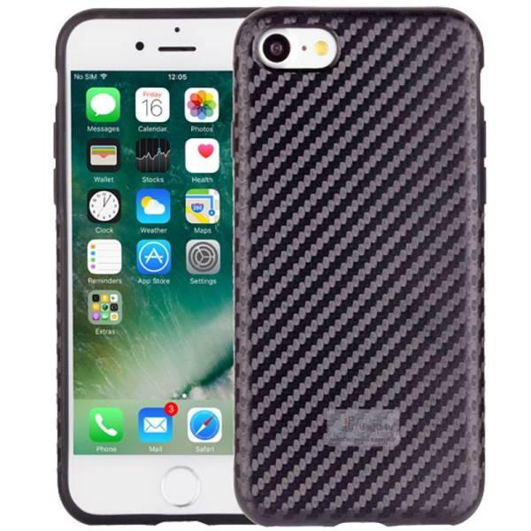 iPhone 8/7 Hoesje Siliconen Carbon Zwart