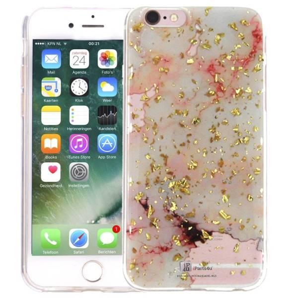 Marmer iPhone 6 en 6S Hoesje Marble Snippers Zilver Roze Siliconen