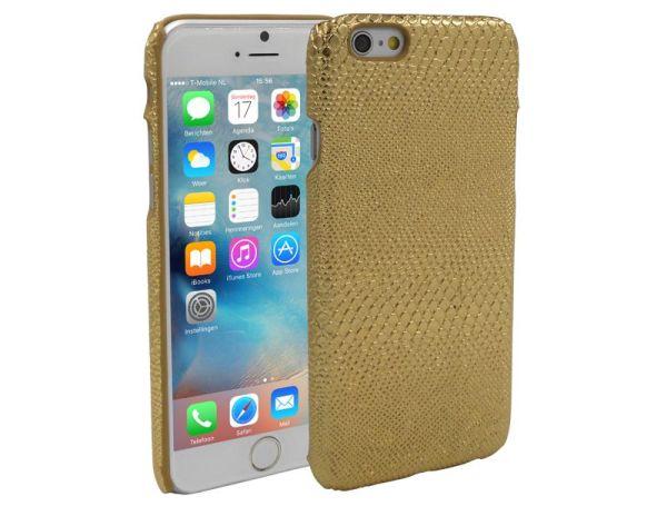 iPhone 6 en 6S Hoesje Hardcover Slangenprint Goud