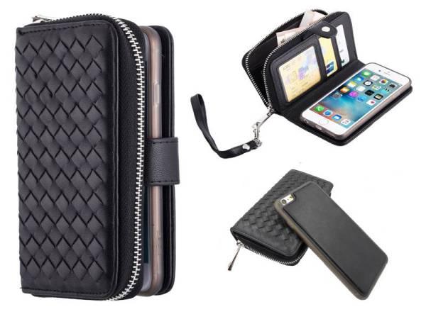 iPhone 6 Plus/6S Plus Portemonnee Clutch Gevlochten Zwart