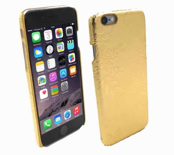 Hardcover Snap Case hoesje iPhone 6 en 6S Bloemen Goud