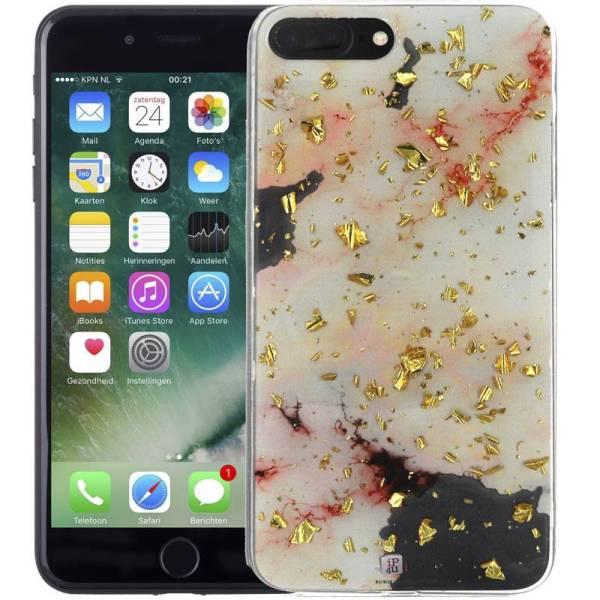Marmer iPhone 8 Plus en 7 Plus Hoesje Snippers Roze Siliconen