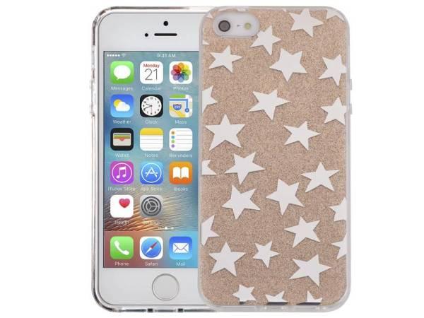 iPhone SE/5S/5 Glitter Hoesje Hardcase Sterretjes Goud
