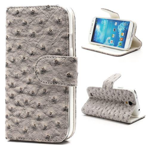 Bookcase Samsung Galaxy S4 Hoesje Leder Struisvogel Grijs