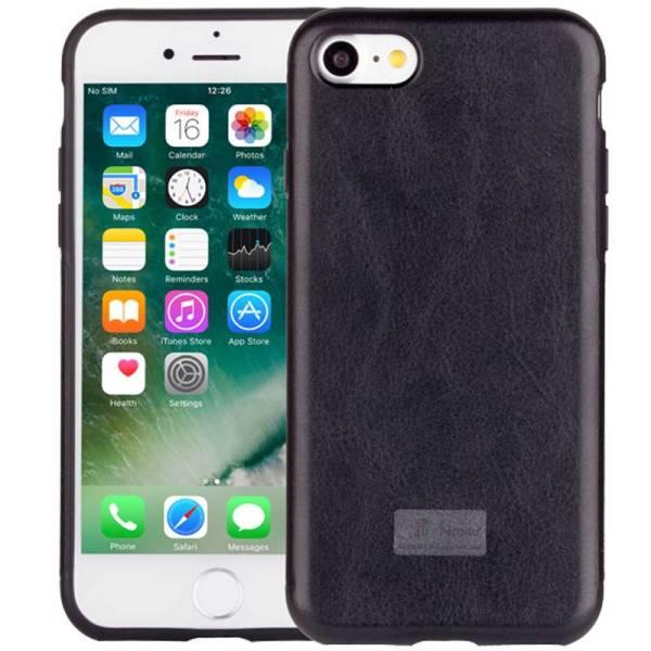 iPhone 8/7 Hoesje Siliconen Leder Look Zwart