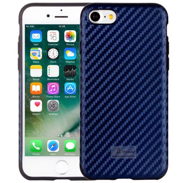 iPhone 8/7 Hoesje Siliconen Carbon Donker Blauw