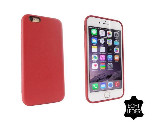Lederen iPhone 6 en 6S Hardcover Case Hoesje Rood