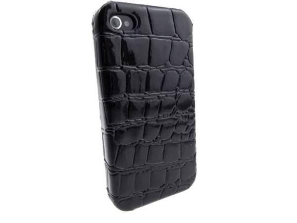 Krokodil Hardcover Snap Case iPhone 4 Croco Zwart