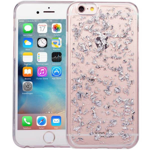 iPhone 6/6S Glitter Hoesje Snippers Zilver