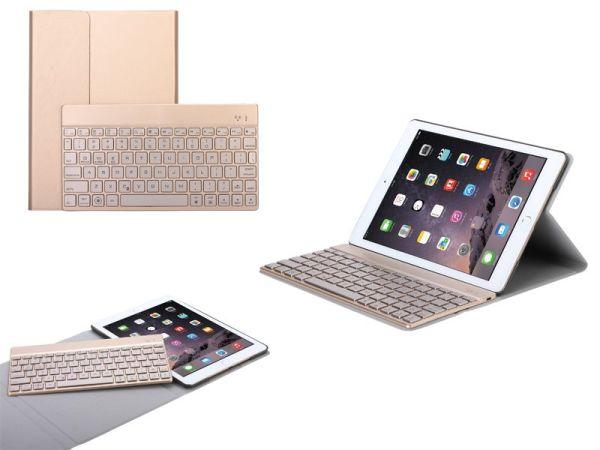 iPad Air 2 en iPad Pro Leder Toetsenbord Hoes Goud 9.7 inch