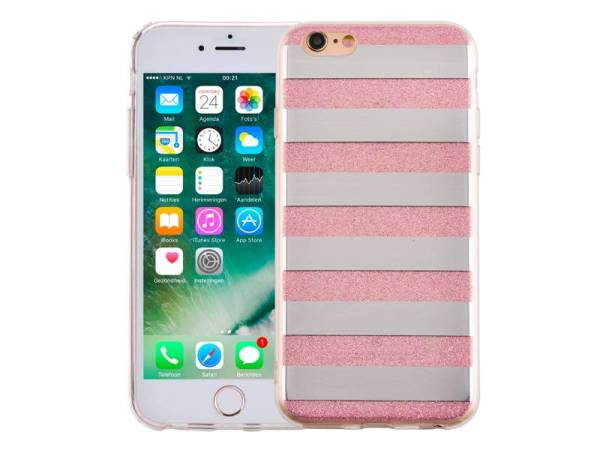 iPhone 6 en 6S Glitter Hoesje Hardcase Strepen Roze