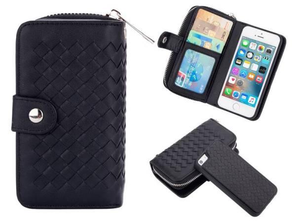 iPhone SE/5S/5 Hoesje Portemonnee Clutch Gevlochten Zwart