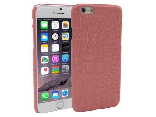 iPhone 6 en 6S Backcover Krokodil Print Roze