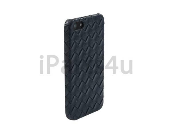 Gevlochten Leder iPhone 5/5S Hardcover Snap Case Blauw