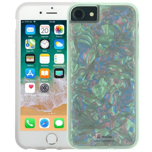 iPhone 8/7/6S/6 Siliconen Hoesje Schelp Snippers Parelmoer Wit
