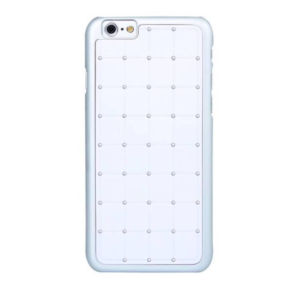 iPhone 6 en 6S Hardcover Case Hoesje Vierkant Diamantjes/Strass Zilver