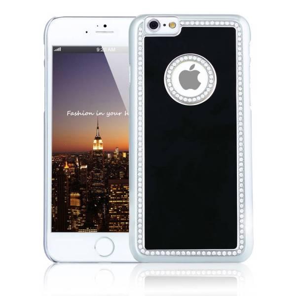 iPhone 6 en 6S Logo Snap Case Hoesje Diamantjes Zwart