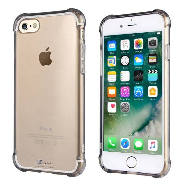 Shockproof iPhone 8/7 Bumper Case Siliconen Hoesje Zwart Transparant