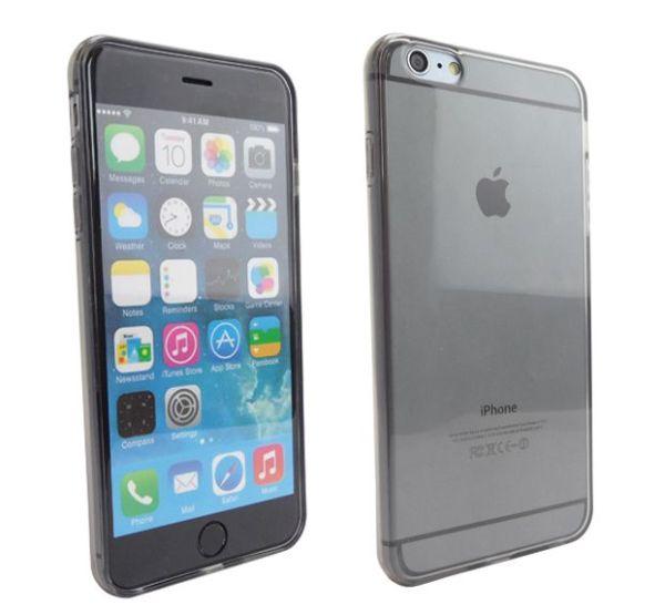 Siliconen Gel TPU iPhone 6 Plus Hoesje Zwart Transparant
