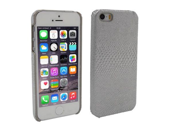 iPhone 5 en 5S Hoesje Hardcover Slangenprint Zilver
